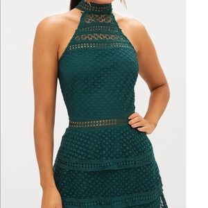 Prettylittlething lace panel tiered bodycon dress